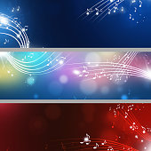 abstract music notes banners with lights and blurs