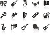 """""""Monochromatic musical instrument related vector icons for your design or application. Raw style. Files included: vector EPS, JPG, PNG."""""""
