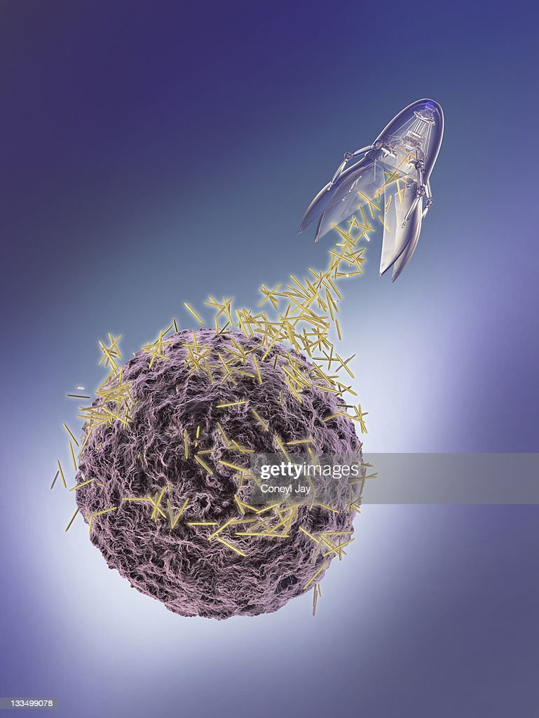 nanotechnology probe attacking a cancer cell : Stock Illustration
