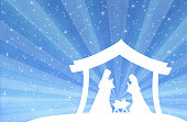 Nativity scene in the desert setting, with figures in white silhouette against light blue starry sky with lightbeam. Figures are made in Inkscape and applied to illustration with Photoshop.