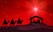 Three Wise Men come to the stable. Figures are in black silhouette against red starry sky with comet star, in the desert setting. The figures are taken from my previous accepted illustration.