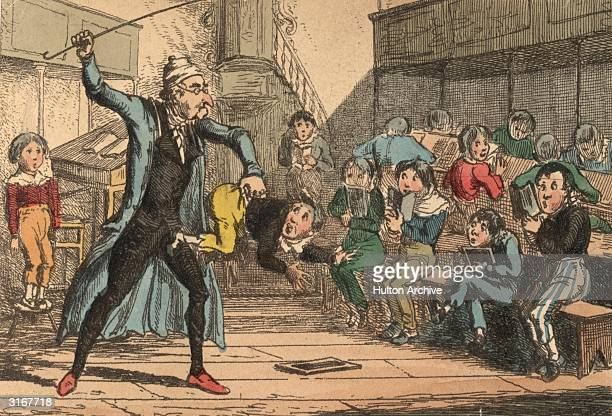 A naughty schoolboy is beaten by the angry master The illustration is captioned 'He that chastiseth one amendeth many' Designed and etched by H Heath
