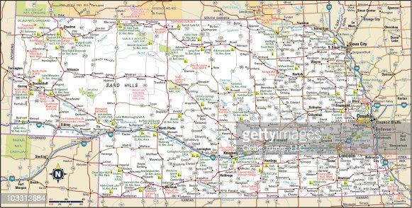 Nebraska Highway Map Vector Art Getty Images - Nebraska map