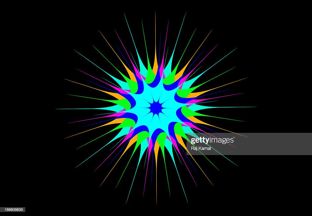 Neon Glowing Star on Black Background.Abstract : Stock Illustration