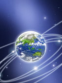 Network lights surrounding the earth, computer graphic