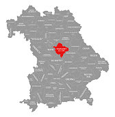 Neumarkt in der Oberpfalz county red highlighted in map of Bavaria Germany