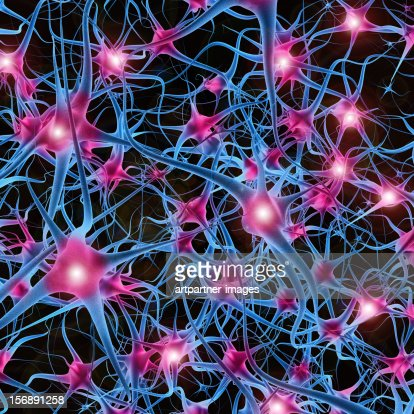 Neurons transmitting information : Stockillustraties
