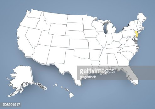 New Jersey Nj Highlighted On A Contour Map Of Usa United States Of - Us map new jersey