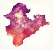 New Taipei City watercolor map of Taiwan in front of a white background