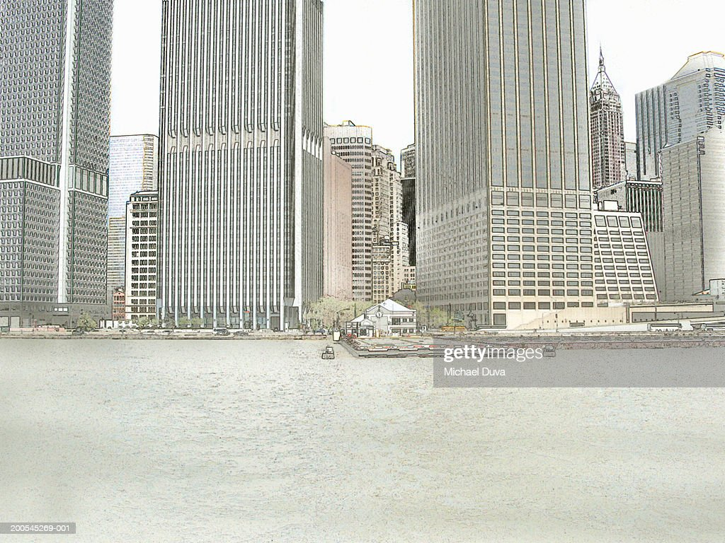 USA, New York City, Manhattan skyline across East River : Stock Illustration