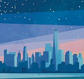 Skyline di New York al crepuscolo.