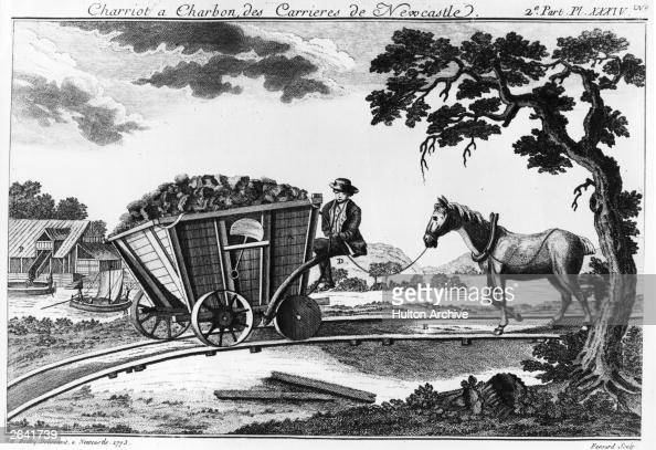 A Newcastle coal wagon of 1773 from 'A Picture History of Railways' by C Hamilton Ellis showing a filled wagon with flanged wheels and a horse...