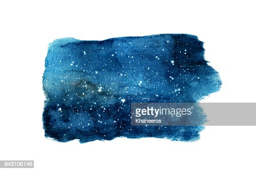Night sky with stars isolated on white background. Watercolor : Stock Illustration