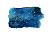 Night sky with stars isolated on white background. Watercolor