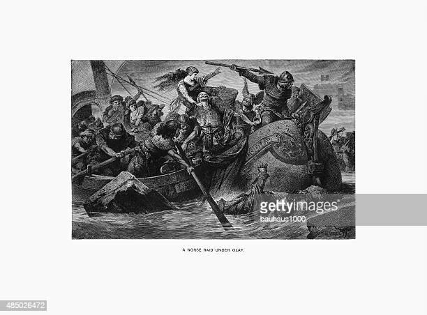 Nordic Raid Under Olaf Tryggveson Engraving