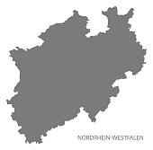 Nordrhein-Westfalen Germany Map grey