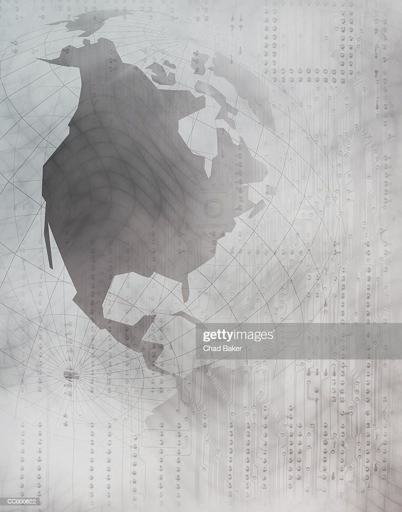 North America on a Globe Over a Circuit Board : Stock Illustration