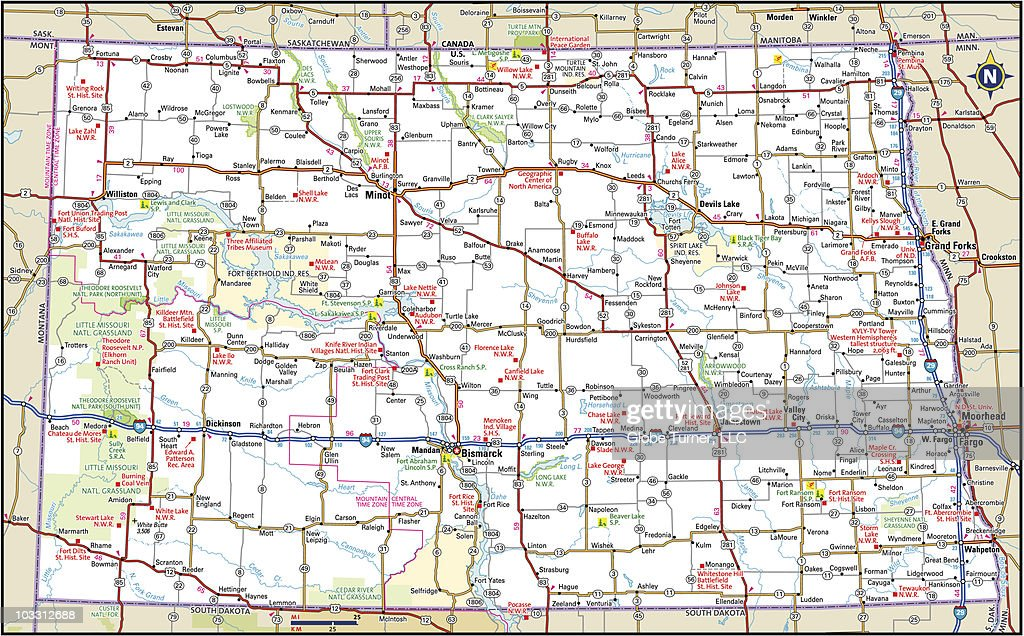 road map nd dakota highway map vector getty images