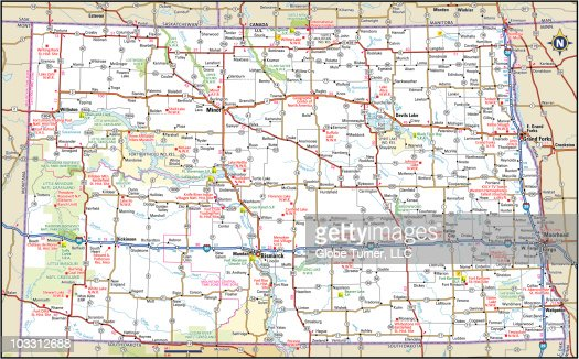 North Dakota Highway Map Vector Art  Getty Images