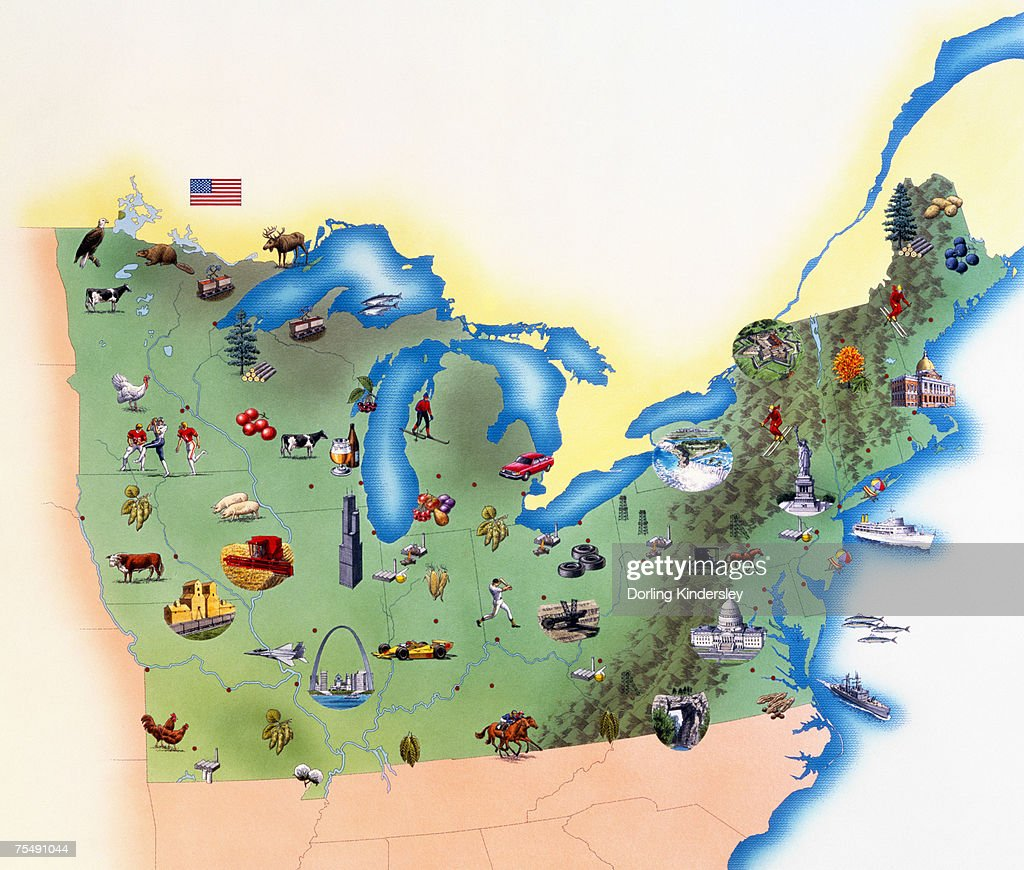 Usa Northern States Of America Map With Illustrations Showing - Map of northern states of usa