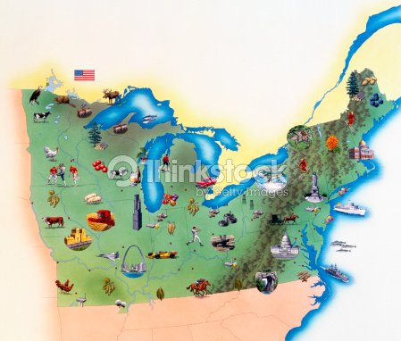 Usa Northern States Of America Map With Illustrations Showing ...