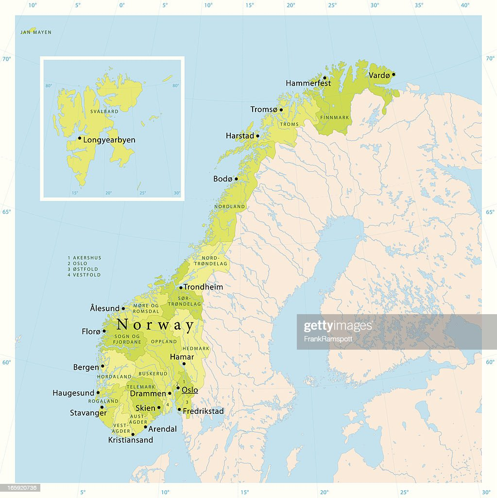 Norway Map Vector Art Getty Images - Norway map hammerfest