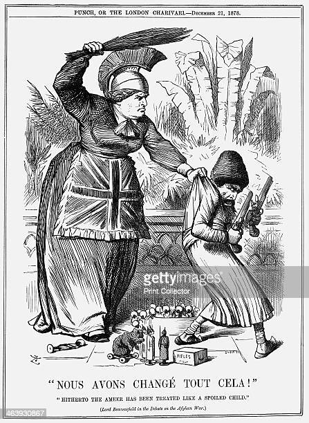 Nous avons change tout cela 1878 Britannia wearing a Union Jack apron brandishes a bunch of twigs above her head ready to beat the Ameer of...