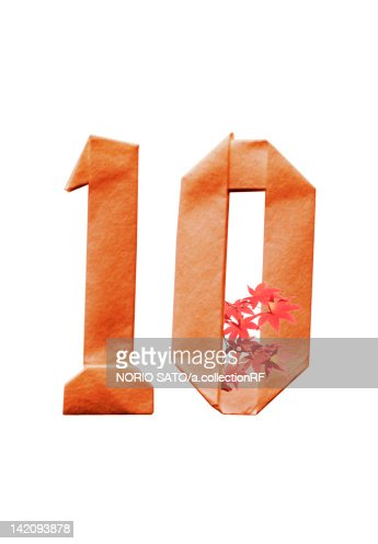 Number 10 in origami and Japanese maple leaves : Stock Illustration