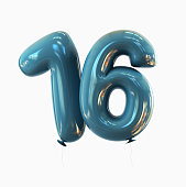 Number 16. Balloon font isolated on White Background. 3d rendering illustration
