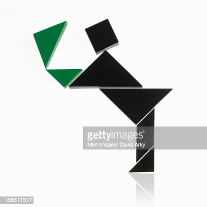 A number of triangles, squares and shapes arranged to represent a human being, in motion or action. : Stock Illustration