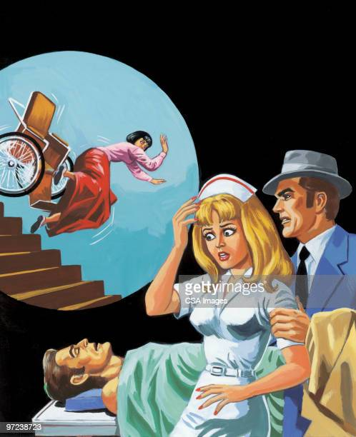 Nurse, Man, Patient and Woman Falling Down the Stairs
