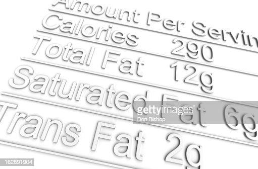 3D nutrition label on white : Stock Illustration