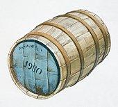 Oak cask labelled '1980' front view.