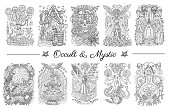 Occult and esoteric drawing, gothic, tattoo and wicca concept, Halloween backgrounds