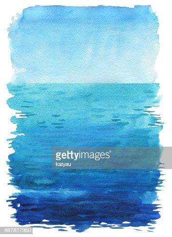 Ocean watercolor hand painting illustration : Stock Illustration
