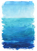 Ocean landscape, Sea side, Beach. Beautiful watercolor hand painting illustration.