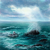 Original oil painting showing waves in  ocean or sea on canvas. Modern Impressionism, modernism,marinism'n