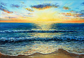 """Original oil painting showing waves in  ocean or sea on canvas. Modern Impressionism, modernism,marinism""""n"""