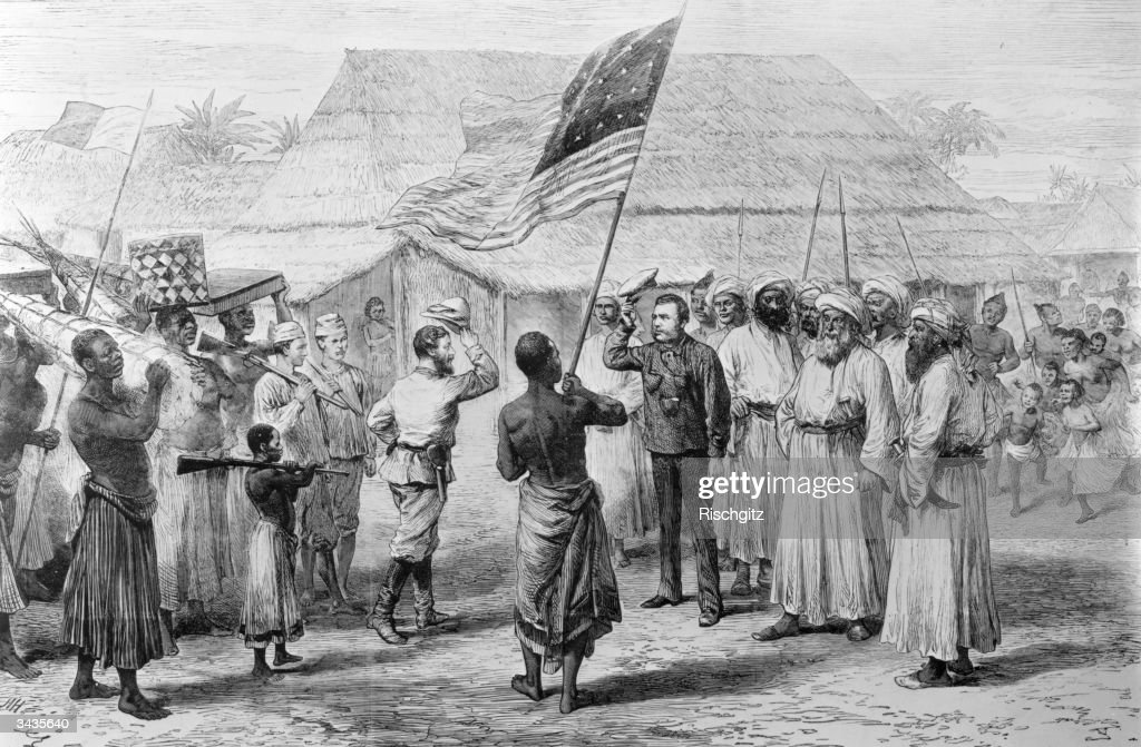 The famous meeting of British explorers David Livingstone (1813 - 1873) and Henry Stanley (1841 - 1904) at Ujiji, Lake Tanganyika in Central Africa. Stanley had been sent to find Livingstone by his employer, the editor of the New York Herald and upon finding him is said to have uttered the immortal words 'Dr Livingstone, I presume?'.