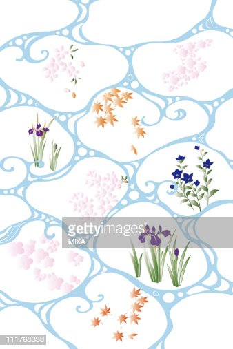 CG of Japanese Painting, Pattern of Circle and Flowers : Stock Illustration