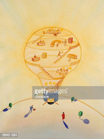 Office workers in lightbulb-shaped building : Stock Illustration