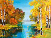 oil painting landscape - birch forest near the river