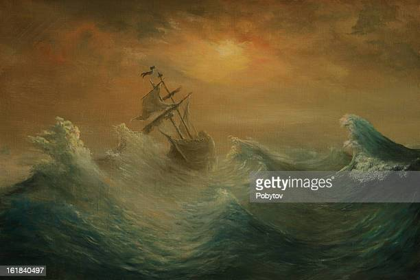 Oil painting of a wooden sailing ship on a stormy sea