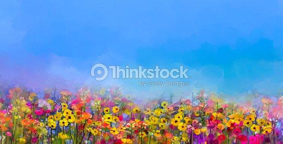 Oil painting of summer-spring flowers. Cornflower, daisy flower