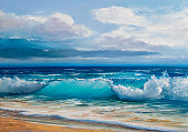Blue, tropical sea and beach. Wave, illustration, oil painting on a canvas.