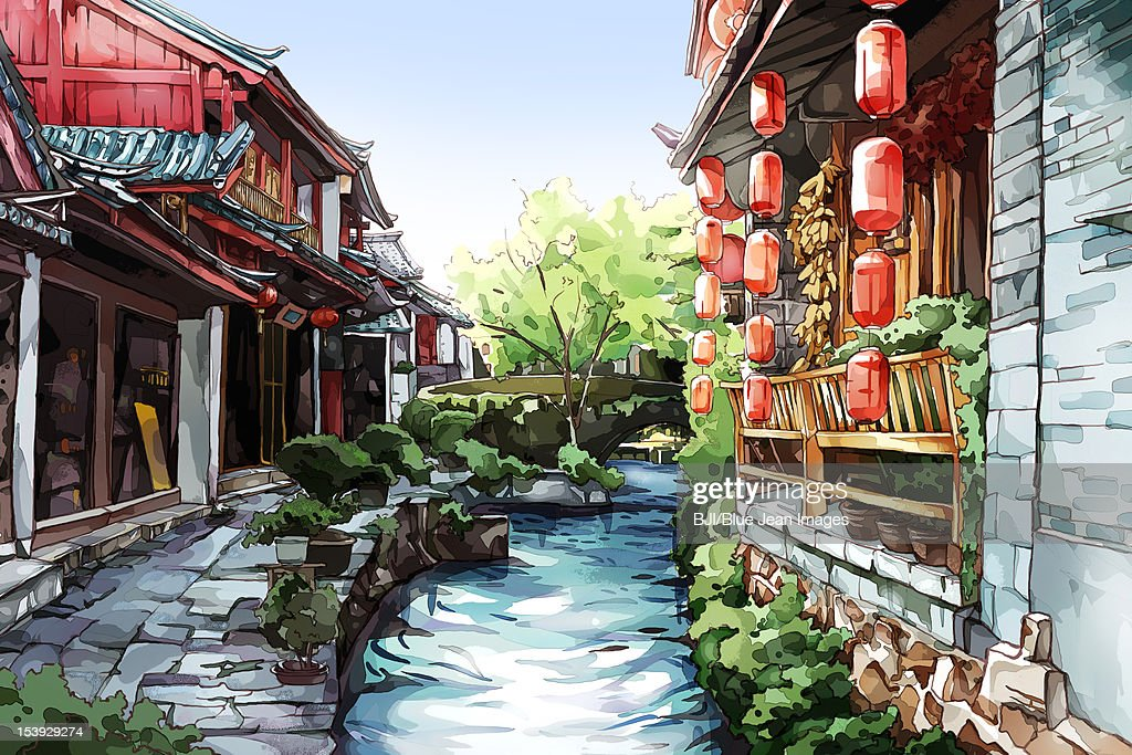 Old Chinese town--Lijiang : Stock Illustration