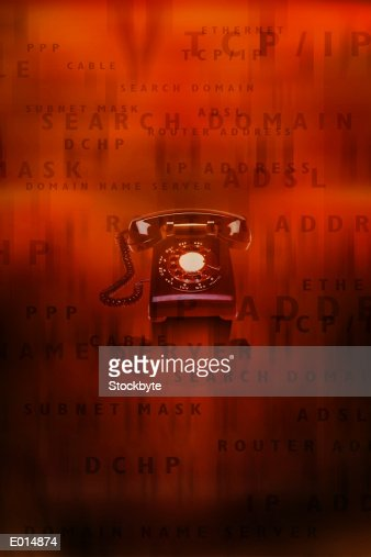 Old fashioned telephone with internet terminology : Stock Illustration