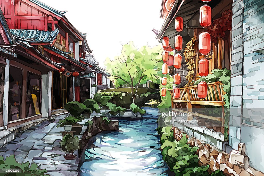 Old Lijiang town in Yunnan Province of China : Stock Illustration