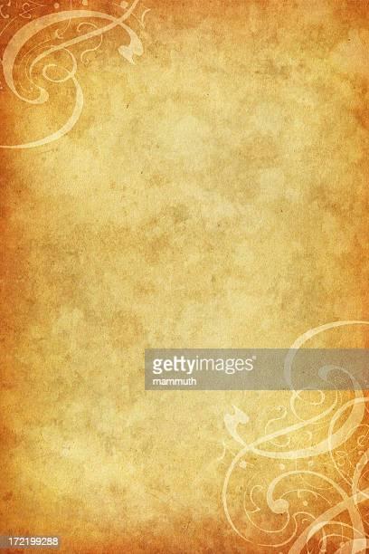 Viejo papel floral con calligraphic esquinas
