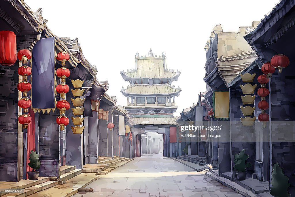 Old Pingyao town in Shanxi Province of China : Stock Illustration